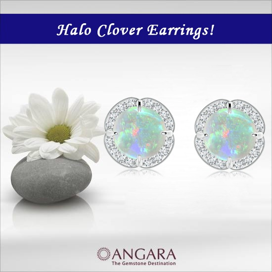 Cabochon-Opal-and-Diamond-Halo-Clover-Earrings-With-Milgrain-Detailing