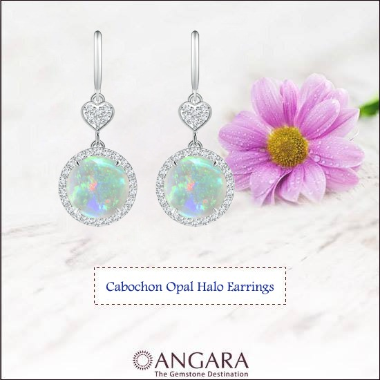 Round-Drop-Cabochon-Opal-Halo-Earrings-With-Diamond-Heart-Motifs