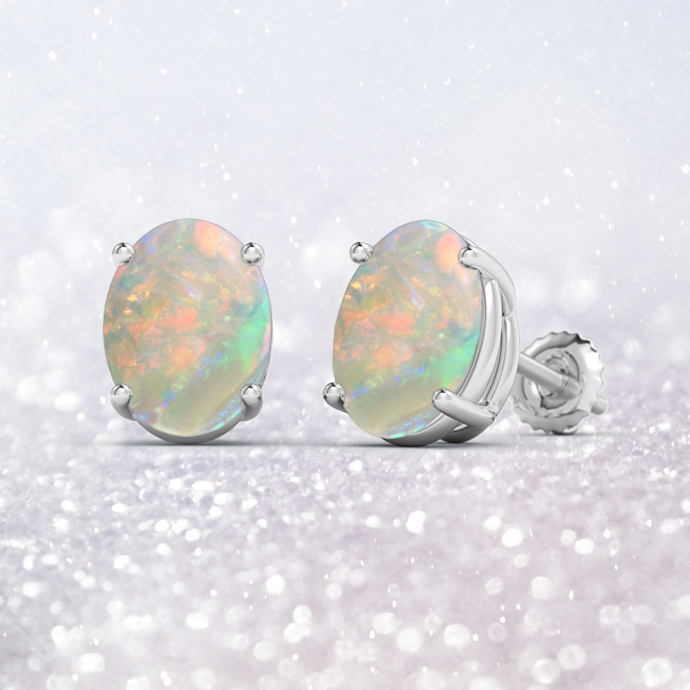 Prong-Set Oval Solitaire Cabochon Opal Stud Earrings