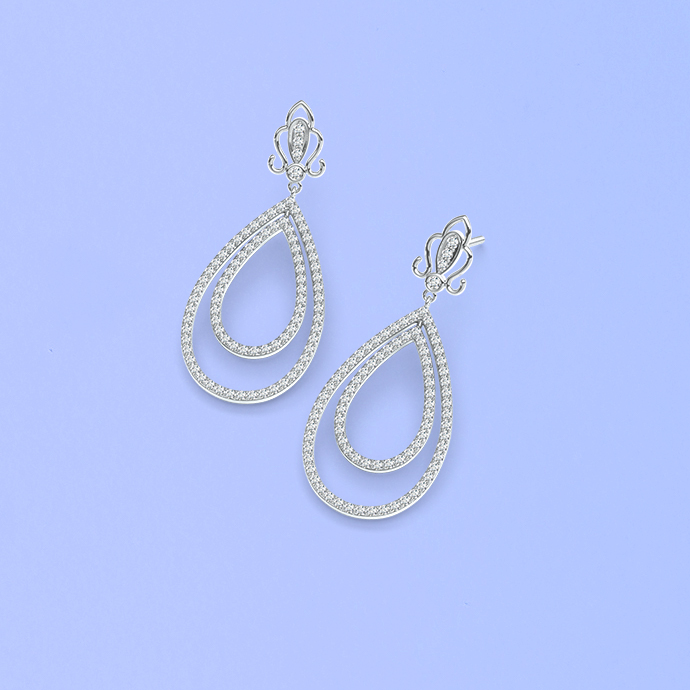 vintage-motif-round-diamond-double-drop-earrings